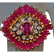 14k Fancy Ruby and Diamond Ring - 1980's