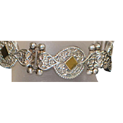 14k and Sterling Silver Etruscan Style Bracelet - 1980's