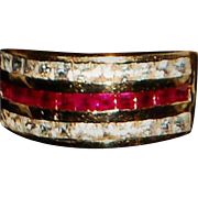 14K Ruby and Diamond Band Ring - 1980's