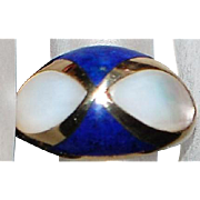 14K Lapis and Mother-of-Pearl Inlaid Ring