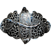 Russian Niello 84 Silver Cossack Belt Buckle - 1900