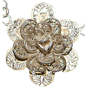 Mexican Silver Filigree Floral Necklace - 1960