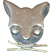 Pair of Sterling Silver Cat Head Earrings - Delfino - 1960
