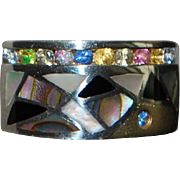 18K and 950 Silver Multi-colored Stone Ring