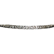 Fancy Engraved Sterling Silver Bangle Bracelet - 1920's