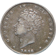 English George IV One Shilling Silver Coin - 1826