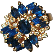 14K Blue Sapphire and Diamond Modernist Ring - 1980