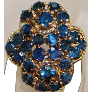 18K Natural Blue Sapphire Cluster Ring - 1960's