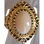 14K Large Angel Skin Coral Ring