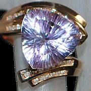 14K Pink Gold Amethyst Trillion and Diamond Ring - John C Rinker