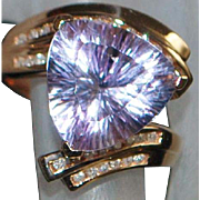 14K Pink Gold Amethyst Trillion and Diamond Ring - John C Rinker