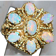 14K Large Crown Top Opal Ring - 1960's