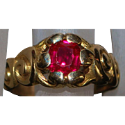 14K Man's Art Nouveau Ruby ring - 1915