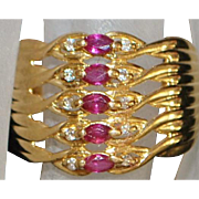 18K Ruby and Diamond Harem Ring - 1960's