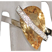 14K w/g Modernist Citrine and Diamond Ring - 1970's