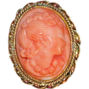 14K Pink Coral Cameo Ring - 1920's