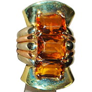 !4K Large Custom Made Retro Madera Citrine Ring - 1940's
