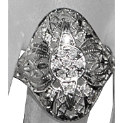 18K w/g Diamond Filigree Ring - 1900