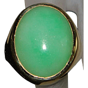14K Large Man's Apple Green Jade Ring - 1980's