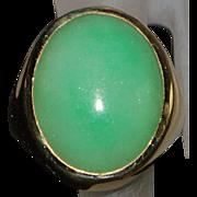 14K Large Man's Apple Green Jade Ring - 1980's
