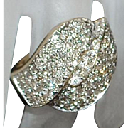 10K Large Pave Diamond (2ct) Ring - 1980's