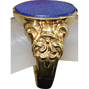 English Edwardian Man's 9K Lapis Signet Ring - 1910