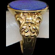 English Edwardian Man's 9K Lapis Signet Ring - 1910
