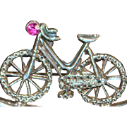English Victorian Sterling Silver Bicycle Brooch - 1896