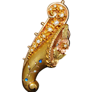 Fancy Victorian 14K Cornucopia Brooch - 1890