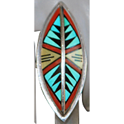 Zuni Sterling Inlaid Stone Ring - D. V. Eriacho