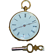 18K Swiss Open Face Pocket Watch - 1890