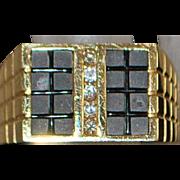 14K Man's Custom Black Onyx and Diamond Ring - 1980's