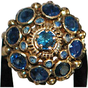18K Sapphire Princess Dome Ring - 1960's