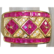 14K Natural Ruby and Diamond Ring - 1980's
