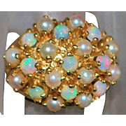 14K Large Opal and Cultured Pearl Ring - 1960's