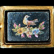 14K Italian Pietra Dura Dove Brooch - 1890