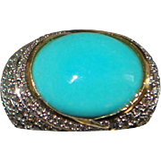 14K Large Turquoise and Pave Diamond Ring - Le Vian