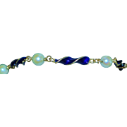 18K Italian Cultured Pearl and Blue Enamel Bracelet