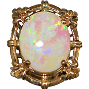 14k Large Custom Made Opal Ring - 1960's