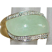 14K Light Green Jade and Diamond Ring - 1980's