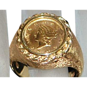 14K Man's $1 Lady Liberty Gold Coin Ring - 1970