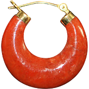 Pair of 14K Red Jade Earrings - 1970's