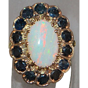 14K r/g Flame Opal and Blue Sapphire Ring - 1960's