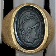 14K Man's Roman Centurian Soldier Signet Ring - 1980's
