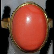 18K Italian Salmon Coral Ring - 1980's