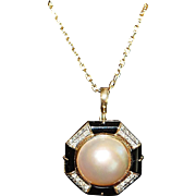 18K Mabe Pearl and Pave Diamond Necklace - 1980's