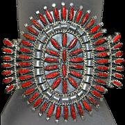 Native American Zuni  Coral Cuff Bracelet - signed