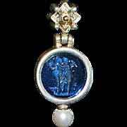 Pair of 14K/Sterling Silver Italian Murano Glass Dangle Earrings