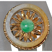 14K Large Custom Made Jade Ring - 1960's