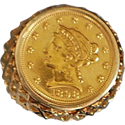 14K Man's US 2 1/2 Dollar Gold Coin Ring - 1980's